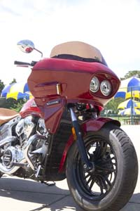 red Indian Scout with dual headlight front fairing viewed from the front