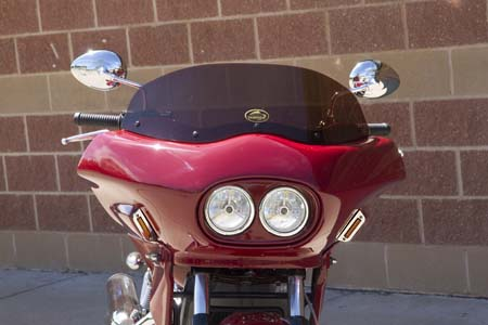 Red Indian Scout with front fairing viewed from the front