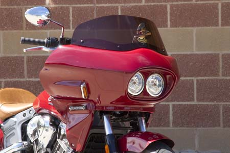 Indian Scout with touring style fairing viewed from the front