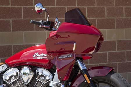 Indian Scout with full front fairing viewed from the side