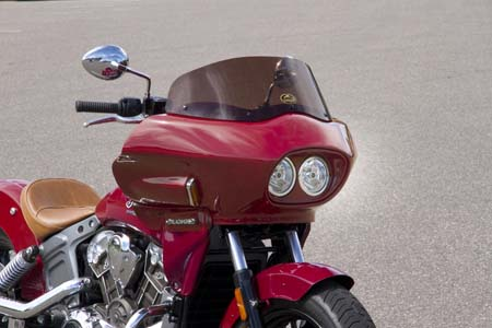 Indian Scout with fairing, 3/4 view