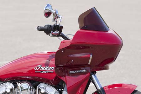 indian scout with touring style fairing viewed from the side