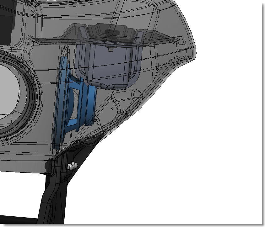 line drawing of right speaker in profile | Wedge Fairing