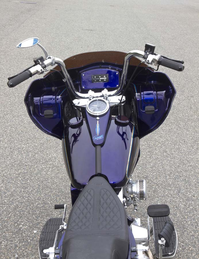 Custom Shovel Bagger Motorcycle with Fairing from behind | Wedge Fairing