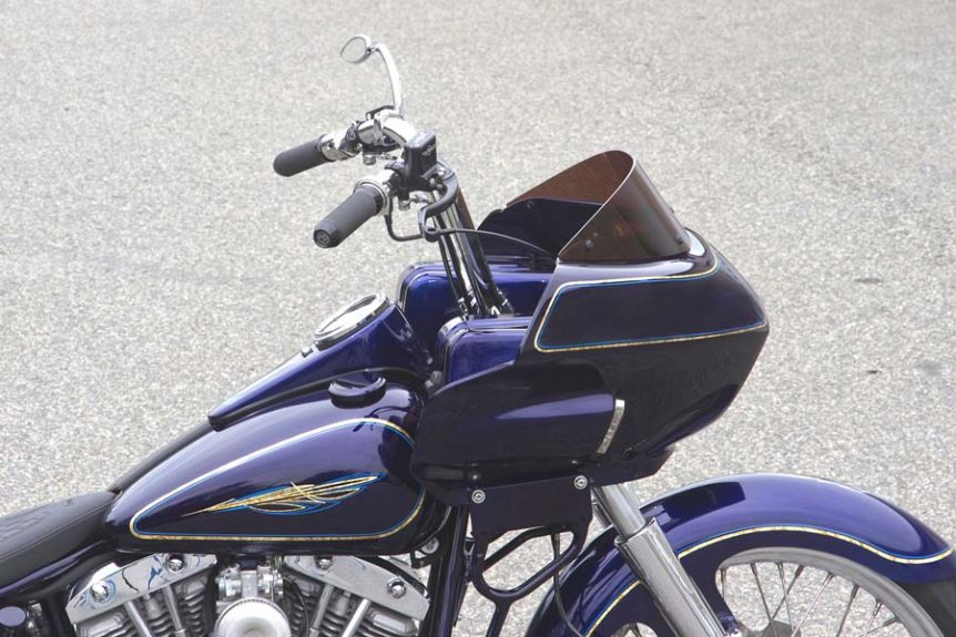 Custom Shovel Bagger Motorcycle with Fairing | Wedge Fairing