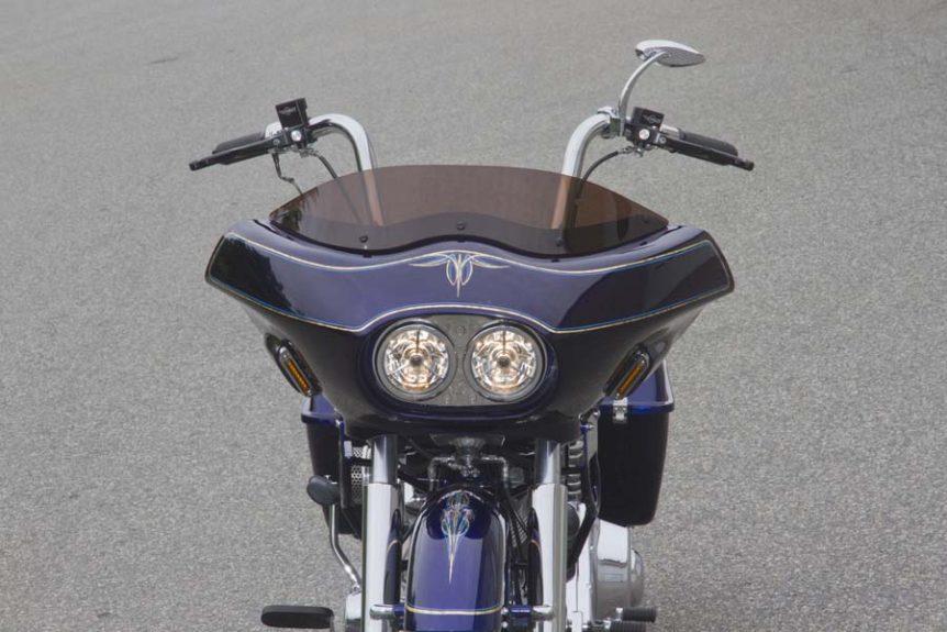 Custom Shovelhead Bagger Motorcycle with Fairing - front view closeup | Wedge Fairing