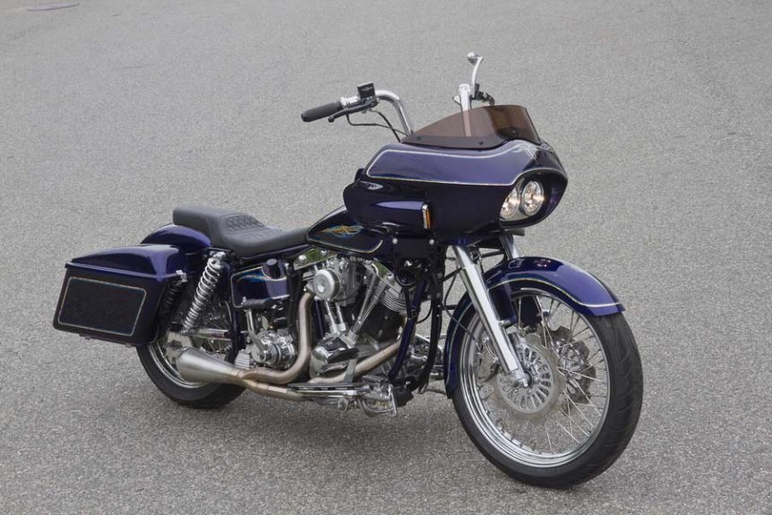 Custom Shovelhead Bagger Motorcycle with Fairing- full view | Wedge Fairing
