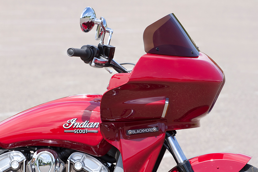 indian scout motorcycle fitted with a fairing   Wedge Fairing