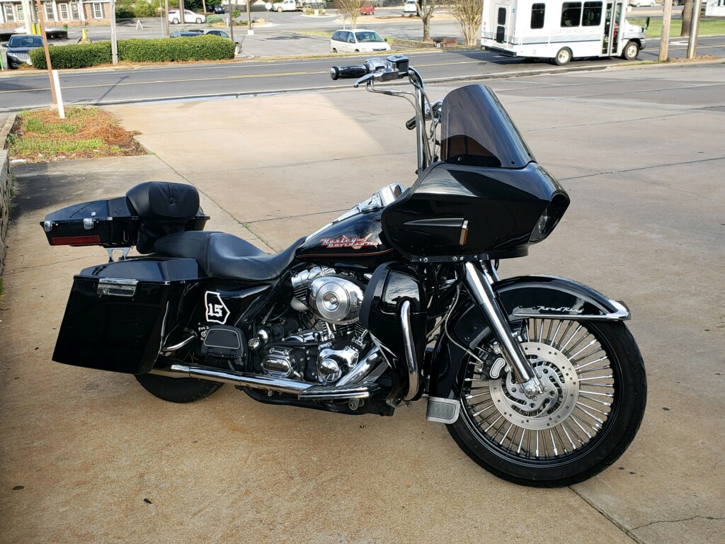 Road King with touring style fairing - side view